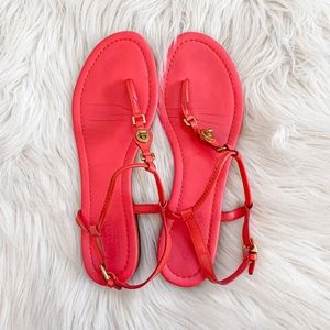 Coach Robyn Pink Leather Thong Sandals